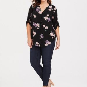 HARPER - FLORAL BUNCHES CHALLIS TIE SLEEVE BLOUSE